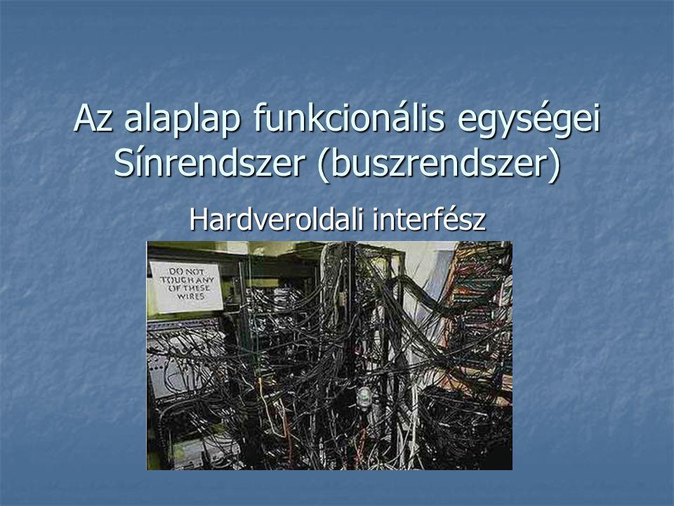Az alaplap funkcionális egységei Sínrendszer (buszrendszer) Hardveroldali interfész