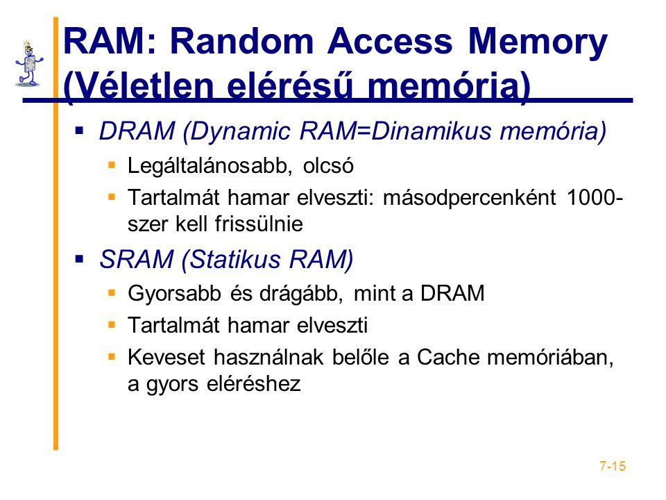 7-15 RAM: Random Access Memory (Véletlen elérésű memória)  DRAM (Dynamic RAM=Dinamikus memória)  Legáltalánosabb, olcsó  Tartalmát hamar elveszti: másodpercenként 1000- szer kell frissülnie  SRAM (Statikus RAM)  Gyorsabb és drágább, mint a DRAM  Tartalmát hamar elveszti  Keveset használnak belőle a Cache memóriában, a gyors eléréshez