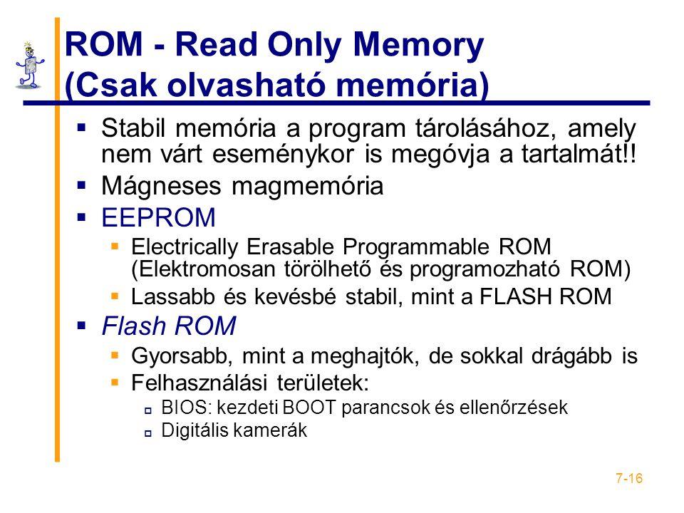 7-16 ROM - Read Only Memory (Csak olvasható memória)  Stabil memória a program tárolásához, amely nem várt eseménykor is megóvja a tartalmát!!  Mágn