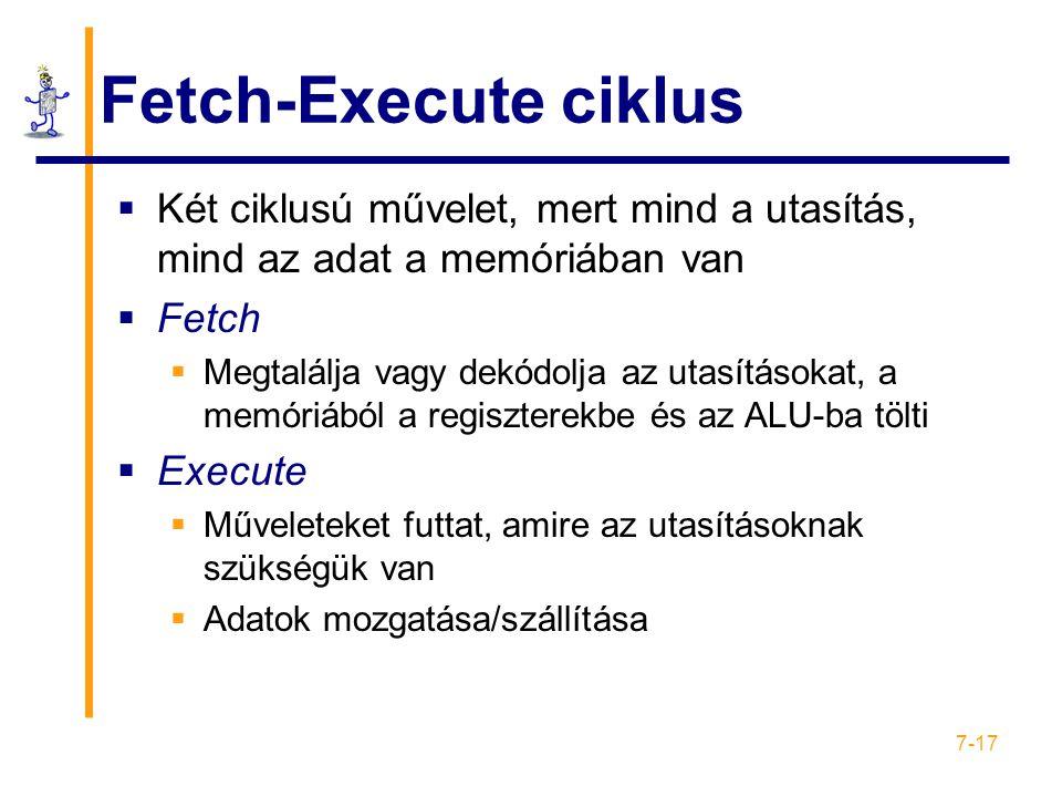 7-17 Fetch-Execute ciklus  Két ciklusú művelet, mert mind a utasítás, mind az adat a memóriában van  Fetch  Megtalálja vagy dekódolja az utasításokat, a memóriából a regiszterekbe és az ALU-ba tölti  Execute  Műveleteket futtat, amire az utasításoknak szükségük van  Adatok mozgatása/szállítása