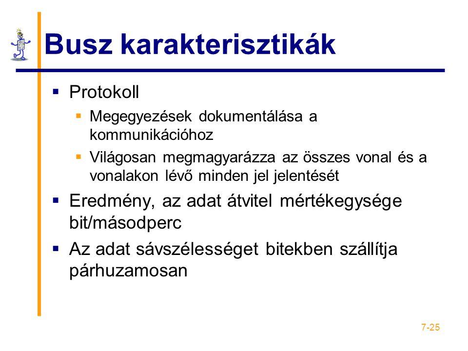 7-25 Busz karakterisztikák  Protokoll  Megegyezések dokumentálása a kommunikációhoz  Világosan megmagyarázza az összes vonal és a vonalakon lévő mi