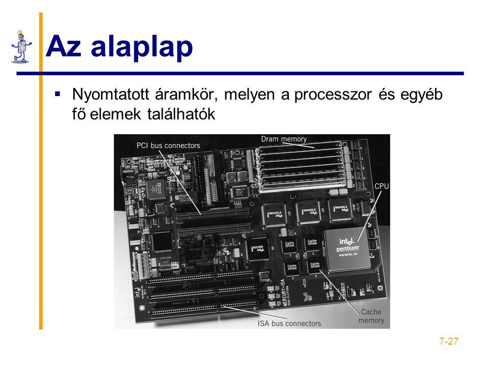 7-27 Az alaplap  Nyomtatott áramkör, melyen a processzor és egyéb fő elemek találhatók