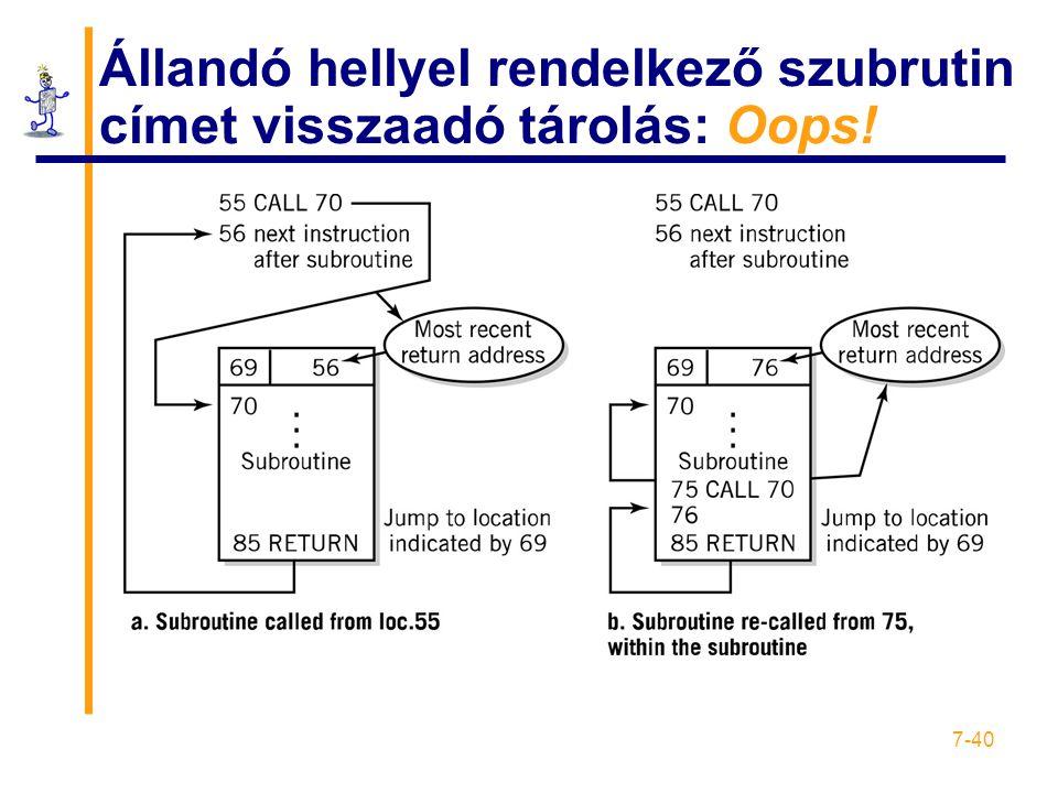 7-40 Állandó hellyel rendelkező szubrutin címet visszaadó tárolás: Oops!
