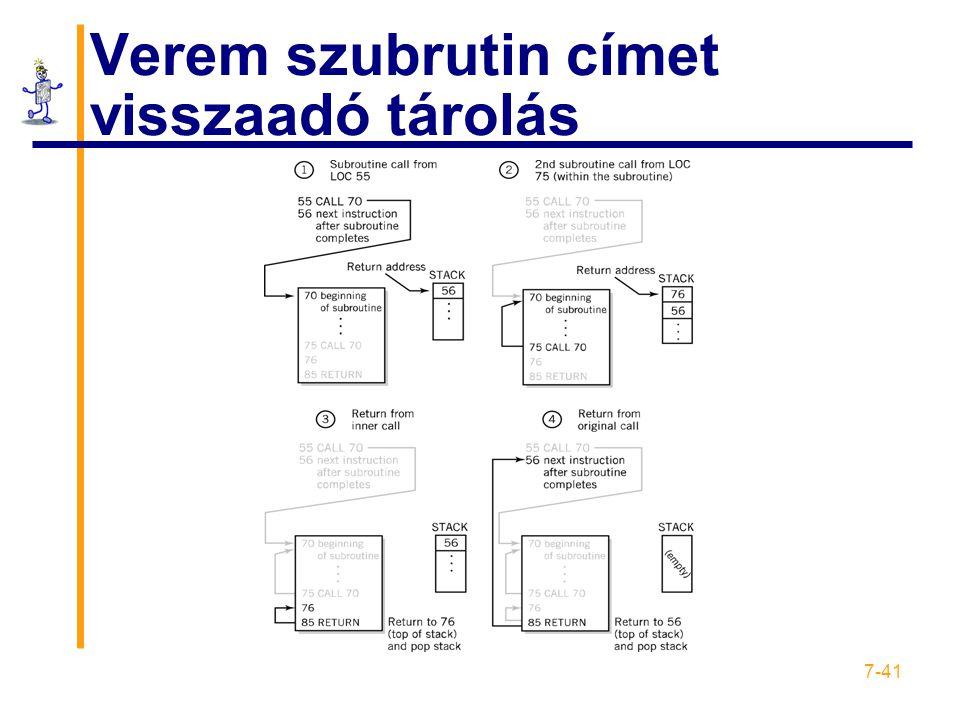 7-41 Verem szubrutin címet visszaadó tárolás
