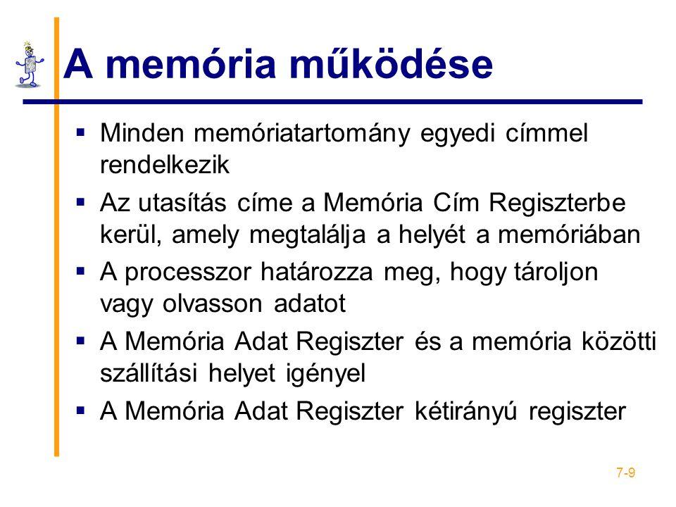 7-9 A memória működése  Minden memóriatartomány egyedi címmel rendelkezik  Az utasítás címe a Memória Cím Regiszterbe kerül, amely megtalálja a helyét a memóriában  A processzor határozza meg, hogy tároljon vagy olvasson adatot  A Memória Adat Regiszter és a memória közötti szállítási helyet igényel  A Memória Adat Regiszter kétirányú regiszter