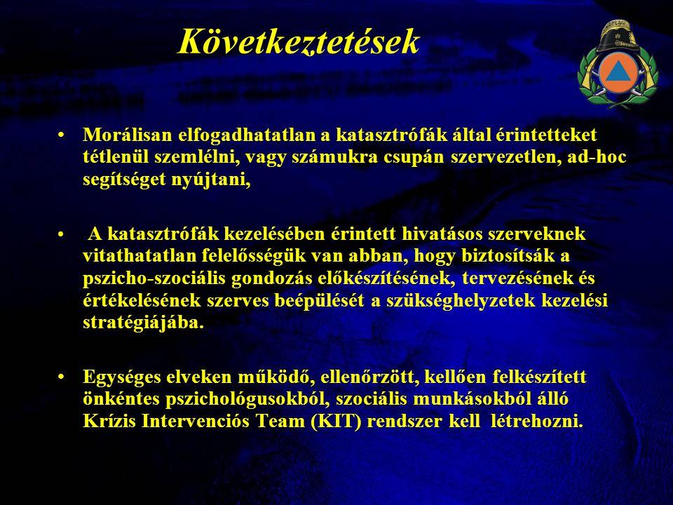 Következtetések •Morálisan elfogadhatatlan a katasztrófák által érintetteket tétlenül szemlélni, vagy számukra csupán szervezetlen, ad-hoc segítséget nyújtani, • A katasztrófák kezelésében érintett hivatásos szerveknek vitathatatlan felelősségük van abban, hogy biztosítsák a pszicho-szociális gondozás előkészítésének, tervezésének és értékelésének szerves beépülését a szükséghelyzetek kezelési stratégiájába.