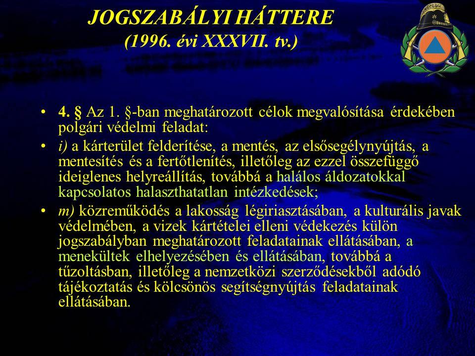 JOGSZABÁLYI HÁTTERE (1996.évi XXXVII. tv.) •4. § Az 1.