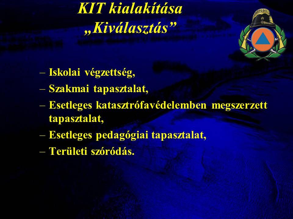 """KIT kialakítása """"Kiválasztás –Iskolai végzettség, –Szakmai tapasztalat, –Esetleges katasztrófavédelemben megszerzett tapasztalat, –Esetleges pedagógiai tapasztalat, –Területi szóródás."""