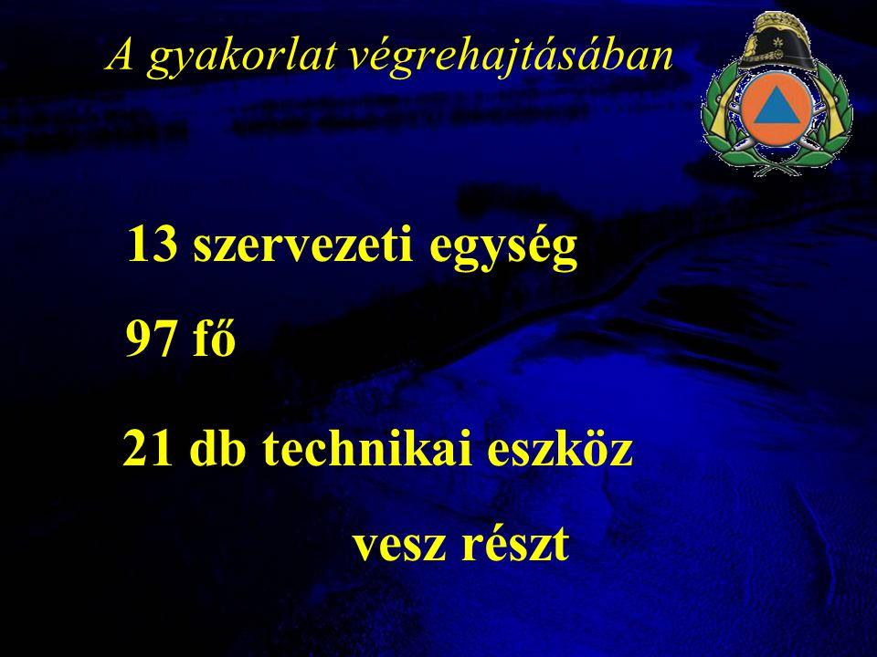 A gyakorlat végrehajtásában 13 szervezeti egység 97 fő 21 db technikai eszköz vesz részt