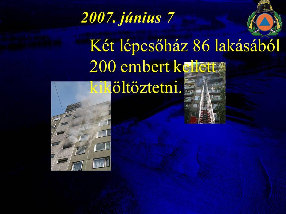 2007. június 7 Két lépcsőház 86 lakásából 200 embert kellett kiköltöztetni.