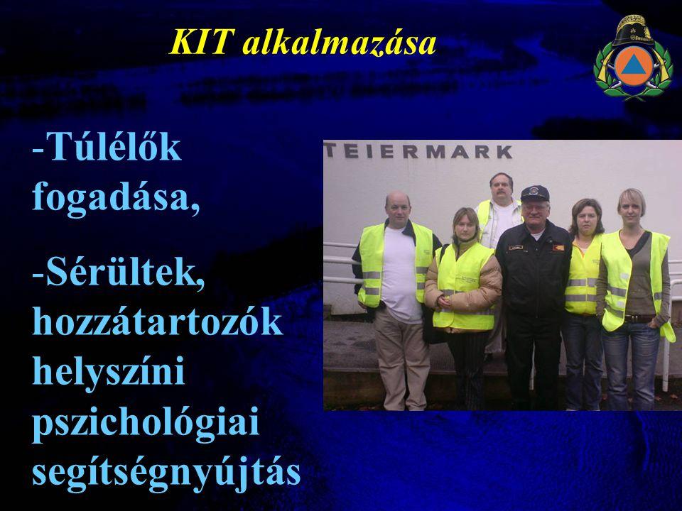 KIT alkalmazása -Túlélők fogadása, -Sérültek, hozzátartozók helyszíni pszichológiai segítségnyújtás