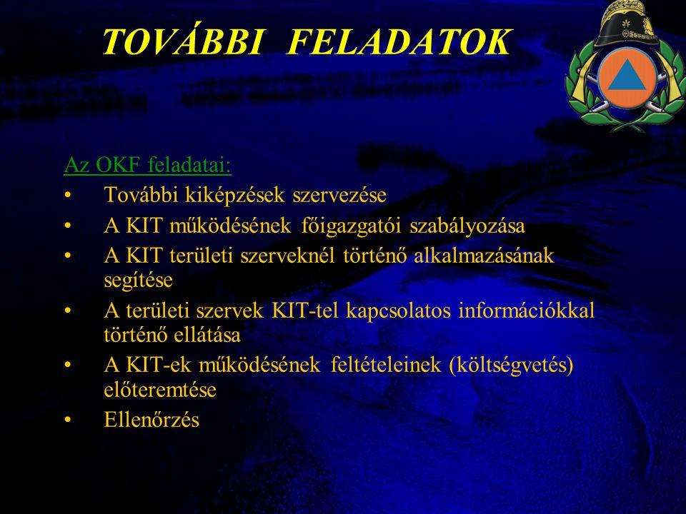 TOVÁBBI FELADATOK Az OKF feladatai: •További kiképzések szervezése •A KIT működésének főigazgatói szabályozása •A KIT területi szerveknél történő alkalmazásának segítése •A területi szervek KIT-tel kapcsolatos információkkal történő ellátása •A KIT-ek működésének feltételeinek (költségvetés) előteremtése •Ellenőrzés