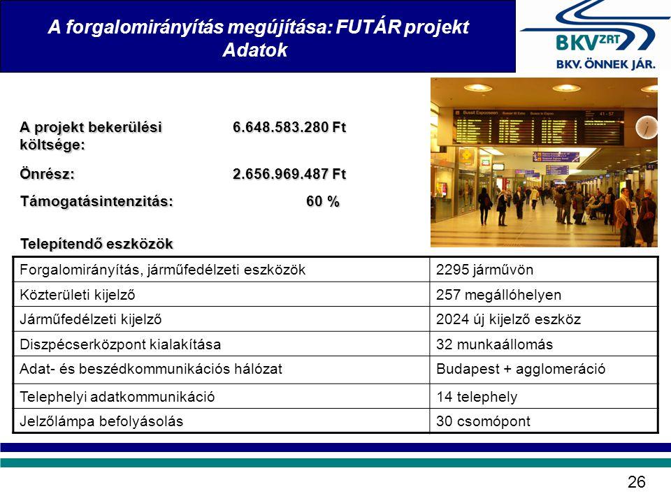 Telepítendő eszközök Forgalomirányítás, járműfedélzeti eszközök2295 járművön Közterületi kijelző257 megállóhelyen Járműfedélzeti kijelző2024 új kijelz