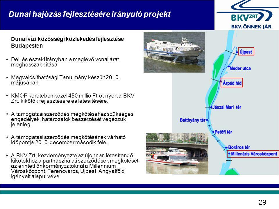 Dunai vízi közösségi közlekedés fejlesztése Budapesten •Déli és északi irányban a meglévő vonaljárat meghosszabbítása •Megvalósíthatósági Tanulmány ké