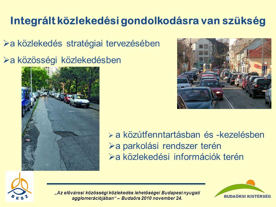 """Integrált közlekedési gondolkodásra van szükség  a közlekedés stratégiai tervezésében  a közösségi közlekedésben  a közútfenntartásban és -kezelésben  a parkolási rendszer terén  a közlekedési információk terén """"Az elővárosi közösségi közlekedés lehetőségei Budapest nyugati agglomerációjában – Budaörs 2010 november 24."""