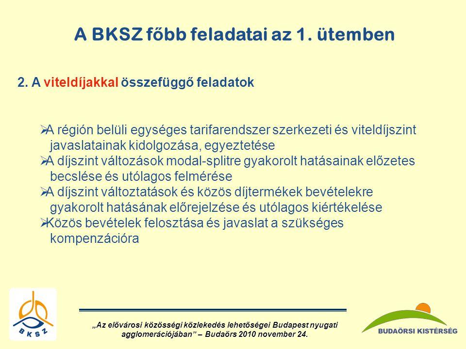 A BKSZ f ő bb feladatai az 1.ütemben 2.