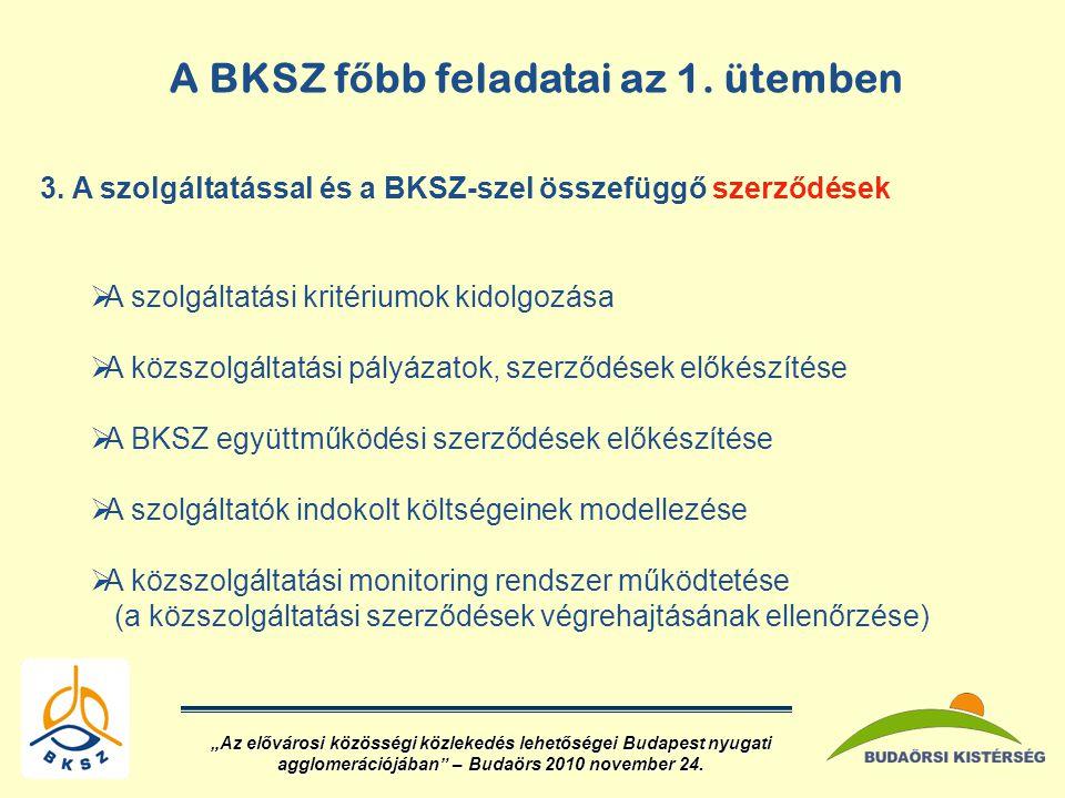 A BKSZ f ő bb feladatai az 1.ütemben 3.