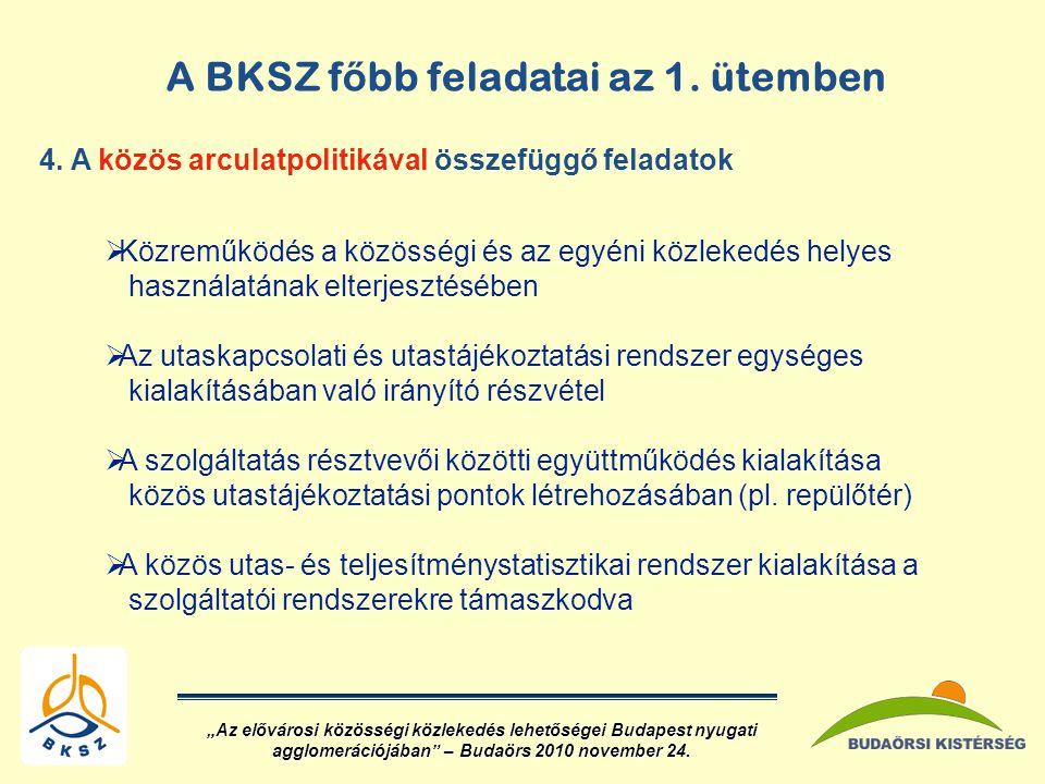 A BKSZ f ő bb feladatai az 1.ütemben 4.
