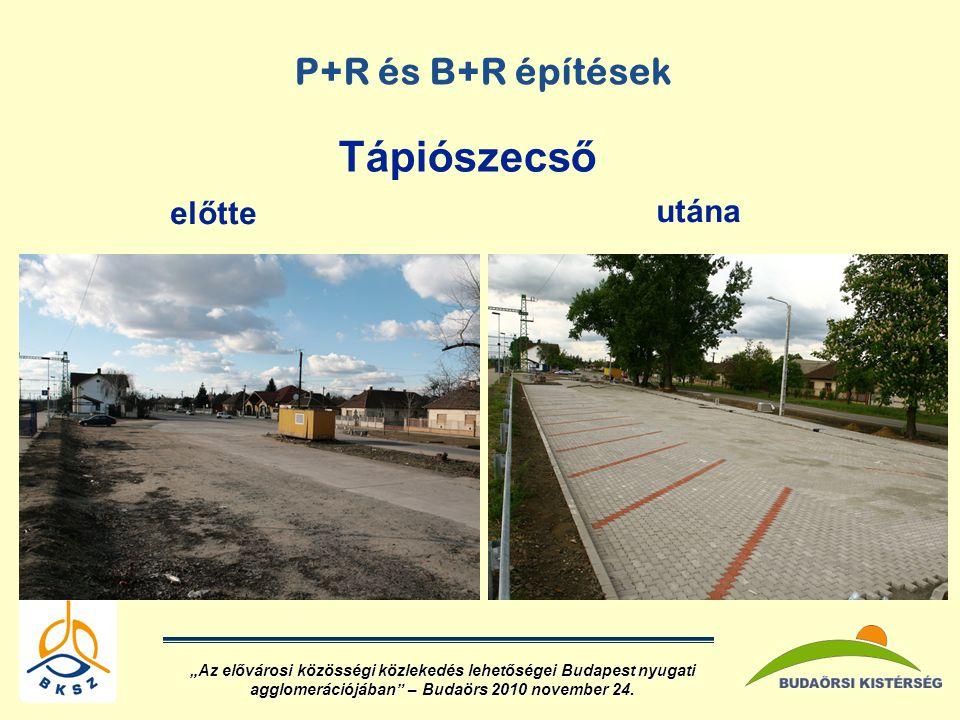 """P+R és B+R építések előtte utána Tápiószecső """"Az elővárosi közösségi közlekedés lehetőségei Budapest nyugati agglomerációjában – Budaörs 2010 november 24."""