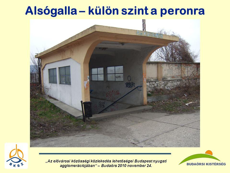 """Alsógalla – külön szint a peronra """"Az elővárosi közösségi közlekedés lehetőségei Budapest nyugati agglomerációjában – Budaörs 2010 november 24."""