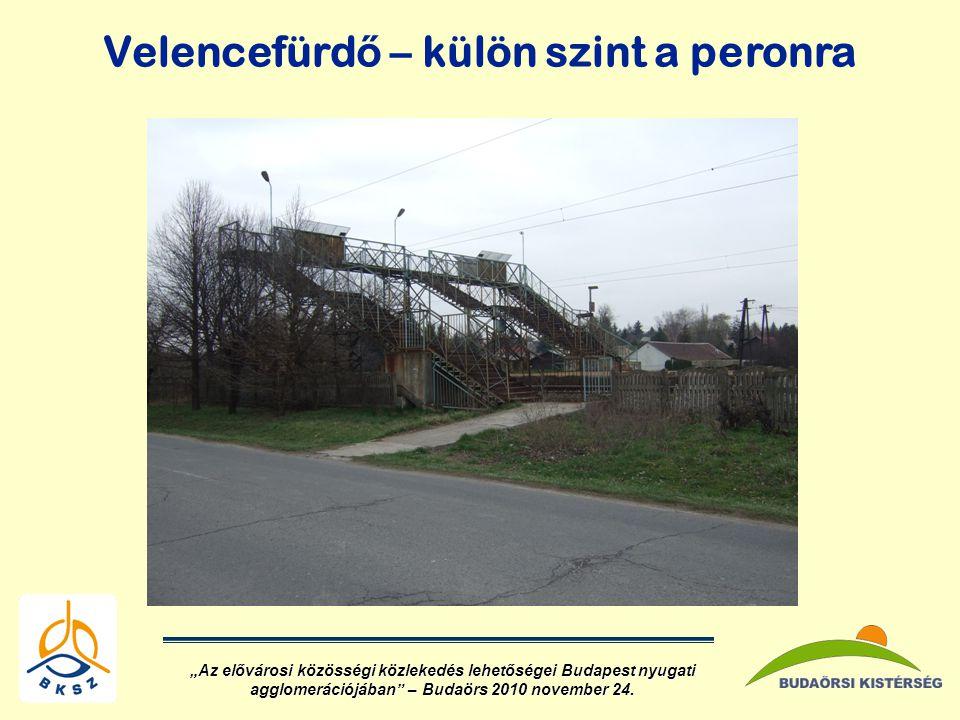 """Velencefürd ő – külön szint a peronra """"Az elővárosi közösségi közlekedés lehetőségei Budapest nyugati agglomerációjában – Budaörs 2010 november 24."""