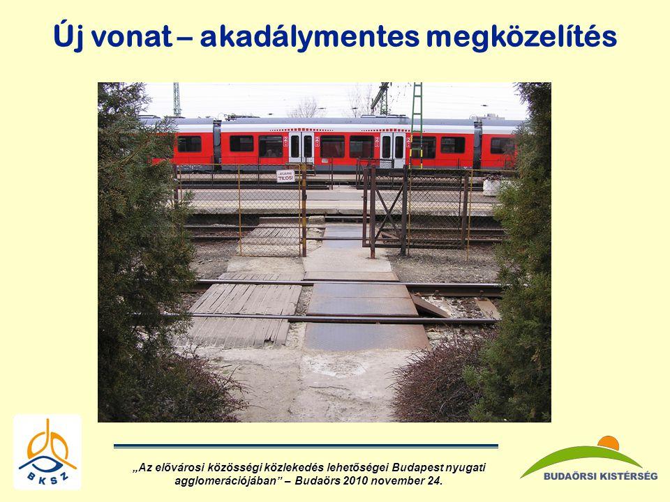 """Új vonat – akadálymentes megközelítés """"Az elővárosi közösségi közlekedés lehetőségei Budapest nyugati agglomerációjában – Budaörs 2010 november 24."""