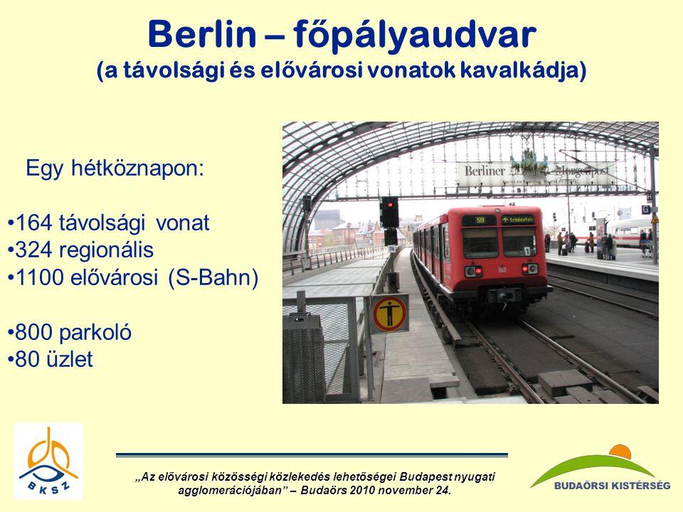 """Berlin – f ő pályaudvar (a távolsági és el ő városi vonatok kavalkádja) Egy hétköznapon: •164 távolsági vonat •324 regionális •1100 elővárosi (S-Bahn) •800 parkoló •80 üzlet """"Az elővárosi közösségi közlekedés lehetőségei Budapest nyugati agglomerációjában – Budaörs 2010 november 24."""