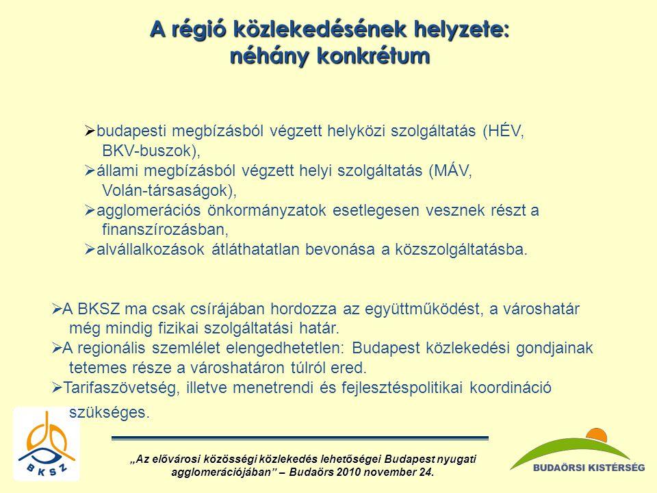 A régió közlekedésének helyzete: néhány konkrétum  budapesti megbízásból végzett helyközi szolgáltatás (HÉV, BKV-buszok),  állami megbízásból végzett helyi szolgáltatás (MÁV, Volán-társaságok),  agglomerációs önkormányzatok esetlegesen vesznek részt a finanszírozásban,  alvállalkozások átláthatatlan bevonása a közszolgáltatásba.