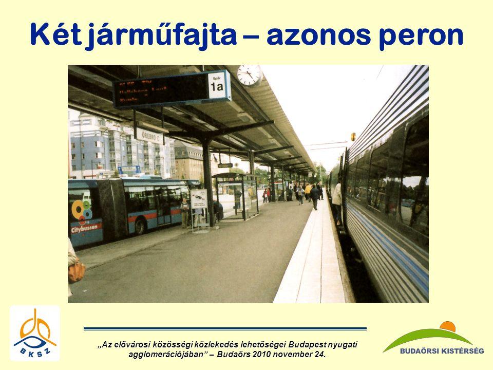 """Két járm ű fajta – azonos peron """"Az elővárosi közösségi közlekedés lehetőségei Budapest nyugati agglomerációjában – Budaörs 2010 november 24."""