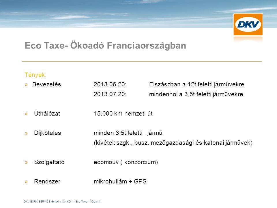DKV EURO SERVICE GmbH + Co. KG I Eco Taxe I Oldal 4 Eco Taxe- Ökoadó Franciaországban Tények: »Bevezetés2013.06.20: Elszászban a 12t feletti járművekr