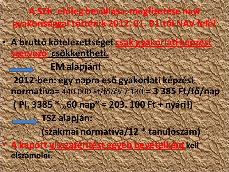 A SZh. előleg bevallása, megfizetése havi gyakorisággal történik 2012.