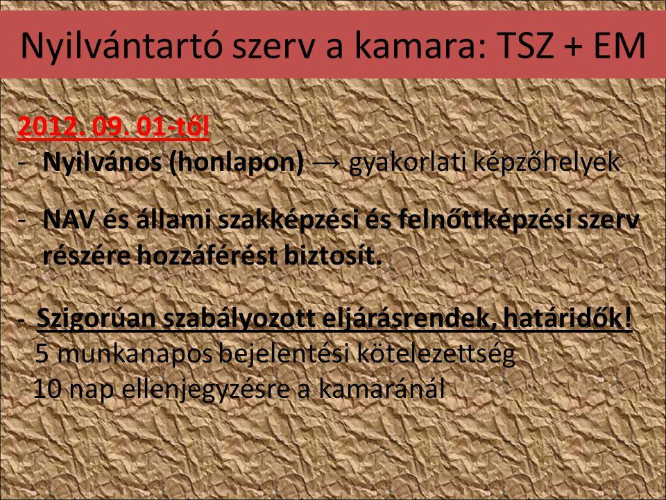 Nyilvántartó szerv a kamara: TSZ + EM 2012. 09.