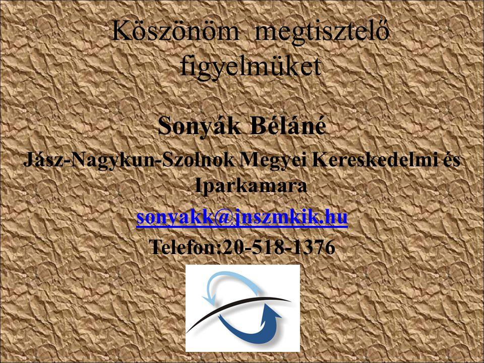 Köszönöm megtisztelő figyelmüket Sonyák Béláné Jász-Nagykun-Szolnok Megyei Kereskedelmi és Iparkamara sonyakk@jnszmkik.hu Telefon:20-518-1376