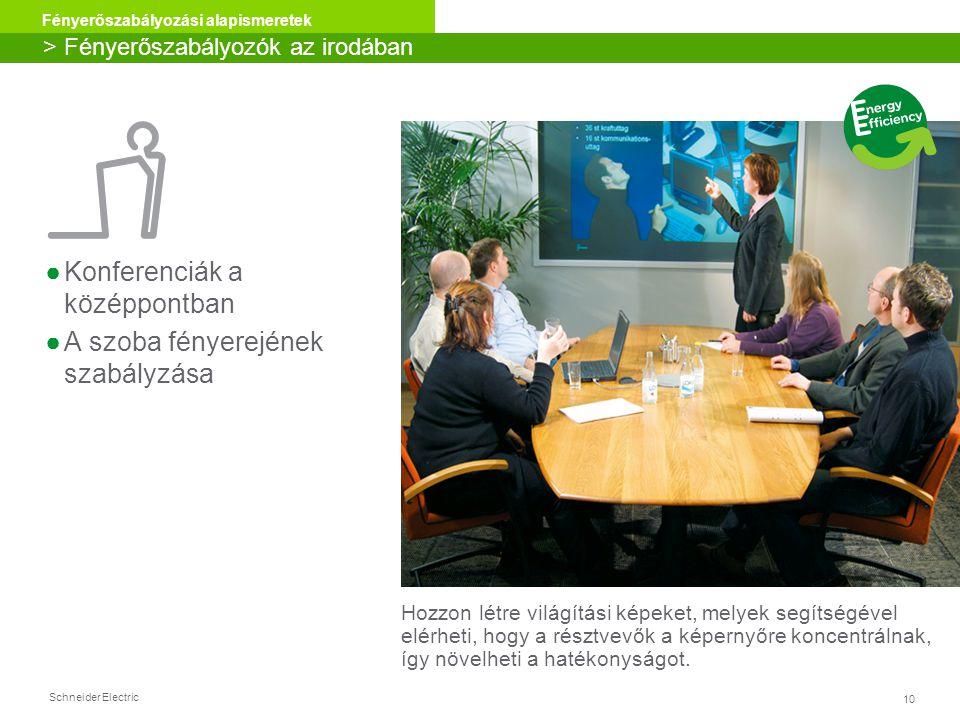 Schneider Electric 10 Fényerőszabályozási alapismeretek > Fényerőszabályozók az irodában Hozzon létre világítási képeket, melyek segítségével elérheti