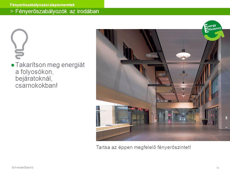 Schneider Electric 11 Fényerőszabályozási alapismeretek ●Takarítson meg energiát a folyosókon, bejáratoknál, csarnokokban! > Fényerőszabályozók az iro