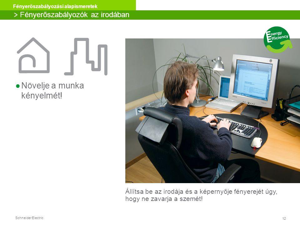 Schneider Electric 12 Fényerőszabályozási alapismeretek ●Növelje a munka kényelmét! > Fényerőszabályozók az irodában Állítsa be az irodája és a képern