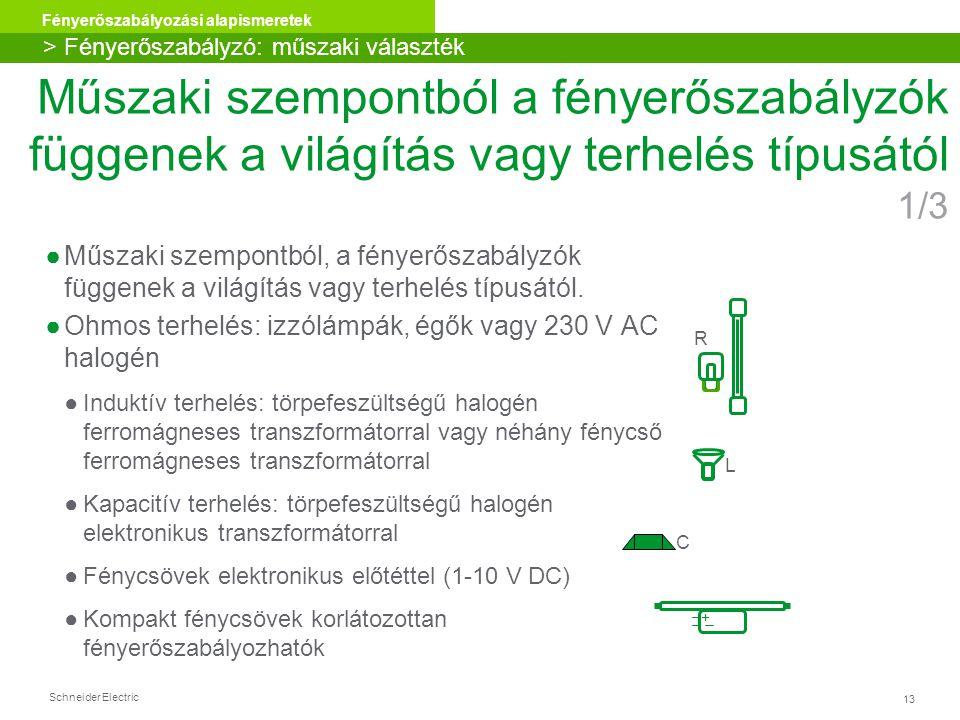 Schneider Electric 13 Fényerőszabályozási alapismeretek Műszaki szempontból a fényerőszabályzók függenek a világítás vagy terhelés típusától 1/3 ●Műsz
