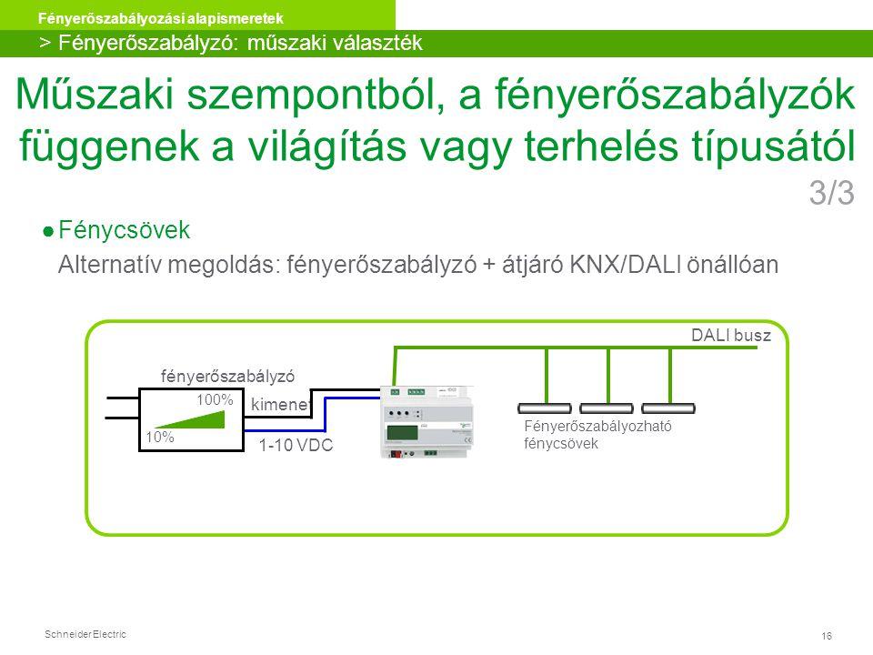 Schneider Electric 16 Fényerőszabályozási alapismeretek ●Fénycsövek Alternatív megoldás: fényerőszabályzó + átjáró KNX/DALI önállóan DALI busz Fényerő