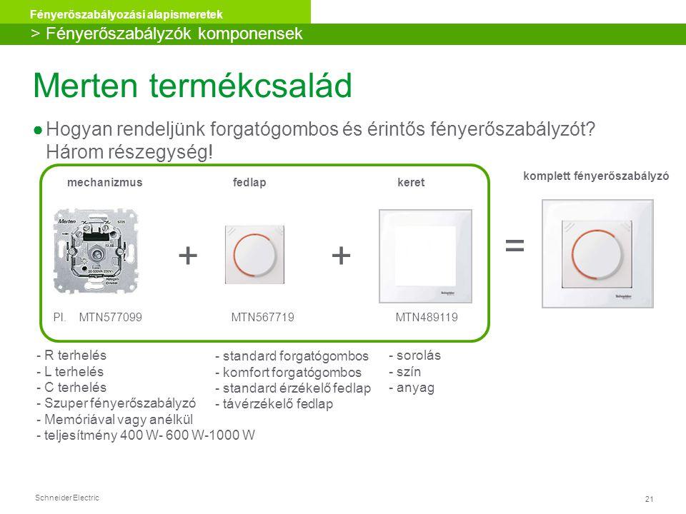 Schneider Electric 21 Fényerőszabályozási alapismeretek ++ = Pl. MTN577099 MTN567719 MTN489119 mechanizmus fedlap keret komplett fényerőszabályzó - st