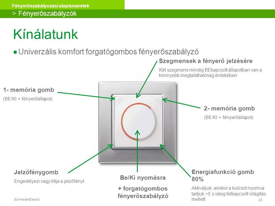 Schneider Electric 22 Fényerőszabályozási alapismeretek 1- memória gomb (BE/KI + fényerőállapot) Jelzőfénygomb Engedélyezi vagy tiltja a jelzőfényt En