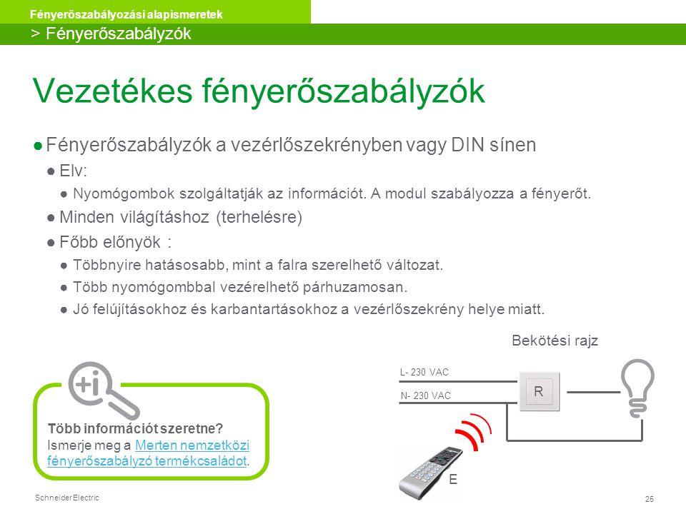 Schneider Electric 25 Fényerőszabályozási alapismeretek Vezetékes fényerőszabályzók ●Fényerőszabályzók a vezérlőszekrényben vagy DIN sínen ●Elv: ●Nyom