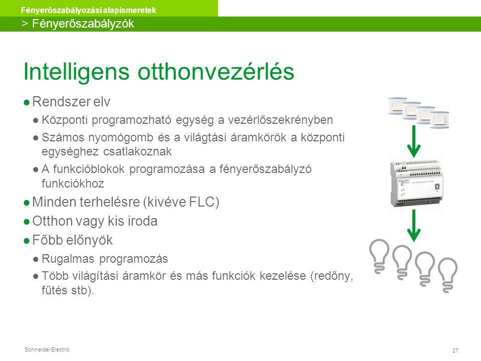 Schneider Electric 27 Fényerőszabályozási alapismeretek Intelligens otthonvezérlés ●Rendszer elv ●Központi programozható egység a vezérlőszekrényben ●