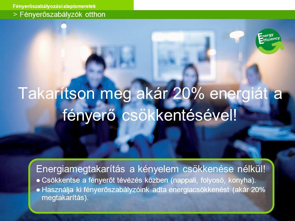 Schneider Electric 7 Fényerőszabályozási alapismeretek Takarítson meg akár 20% energiát a fényerő csökkentésével! > Fényerőszabályzók otthon Energiame