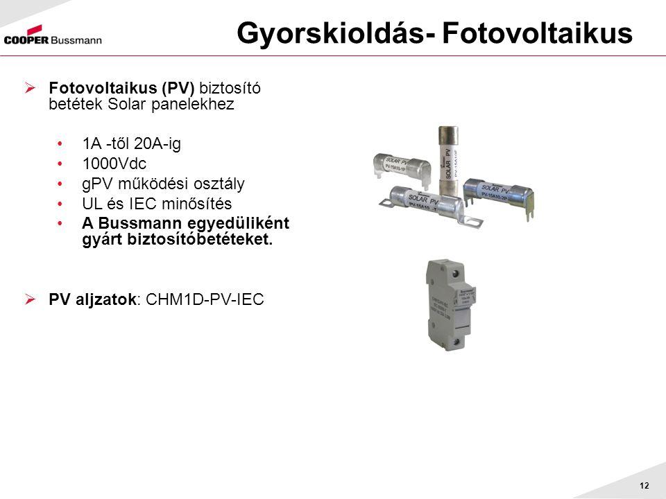 Gyorskioldás- Fotovoltaikus 12  Fotovoltaikus (PV) biztosító betétek Solar panelekhez •1A -től 20A-ig •1000Vdc •gPV működési osztály •UL és IEC minős