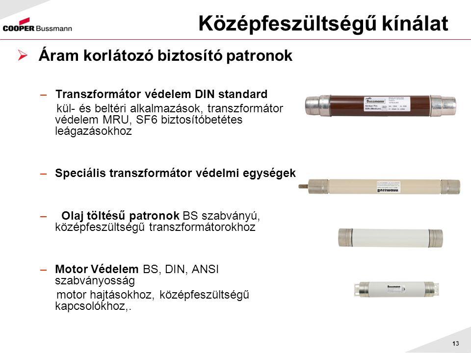 13 Középfeszültségű kínálat  Áram korlátozó biztosító patronok –Transzformátor védelem DIN standard kül- és beltéri alkalmazások, transzformátor véde