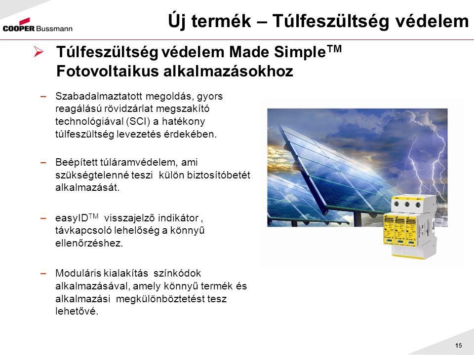 Új termék – Túlfeszültség védelem 15  Túlfeszültség védelem Made Simple TM Fotovoltaikus alkalmazásokhoz –Szabadalmaztatott megoldás, gyors reagálású