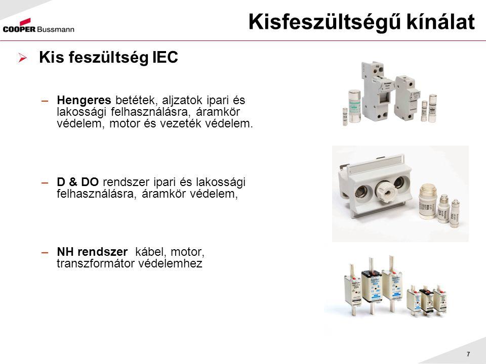 7 Kisfeszültségű kínálat  Kis feszültség IEC –Hengeres betétek, aljzatok ipari és lakossági felhasználásra, áramkör védelem, motor és vezeték védelem.