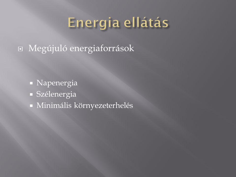  Megújuló energiaforrások  Napenergia  Szélenergia  Minimális környezeterhelés