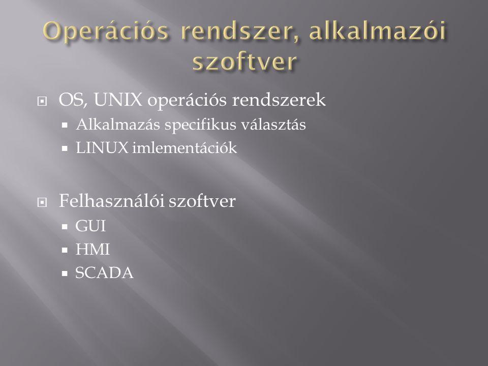 OS, UNIX operációs rendszerek  Alkalmazás specifikus választás  LINUX imlementációk  Felhasználói szoftver  GUI  HMI  SCADA