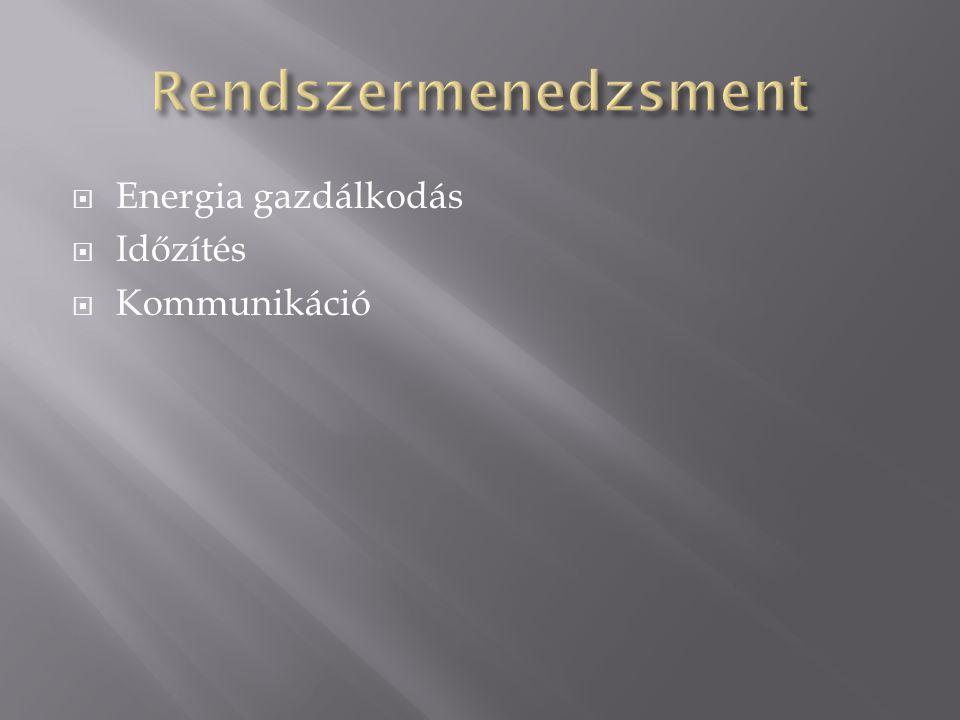  Energia gazdálkodás  Időzítés  Kommunikáció